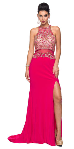 Juliet 617 Embellished Bodice Sheer Midriff Evening Gown Fuchsia