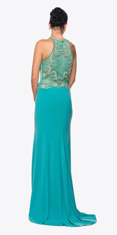 Juliet 617 Embellished Bodice Sheer Midriff Evening Gown Jade
