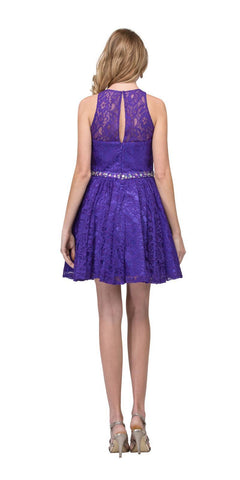 Purple Short Homecoming Dress with Keyhole Back