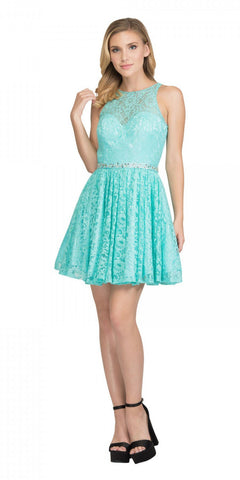 Tiffany Blue Short Homecoming Dress with Keyhole Back