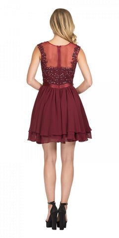 Starbox USA 6171 Illusion Neckline Applique Bodice Homecoming Dress Burgundy Back View