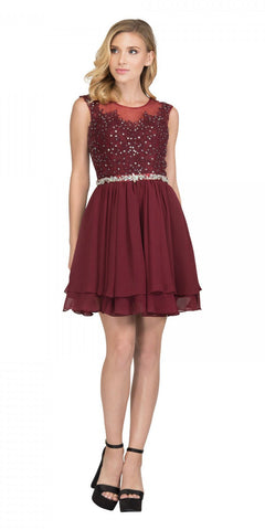 Starbox USA 6171 Illusion Neckline Applique Bodice Homecoming Dress Burgundy