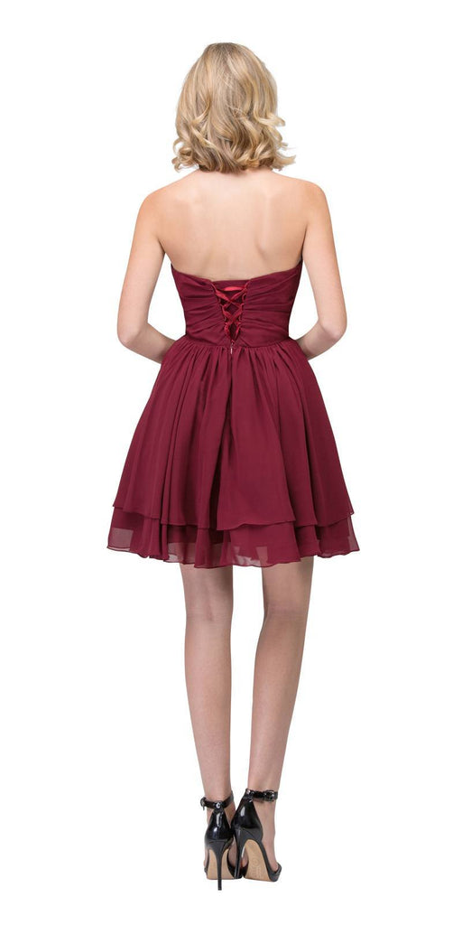 Strapless Ruched Bodice Short Homecoming Dress Burgundy