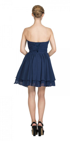 Strapless Ruched Bodice Short Homecoming Dress Navy Blue Back View