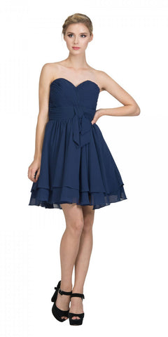 Strapless Ruched Bodice Short Homecoming Dress Navy Blue
