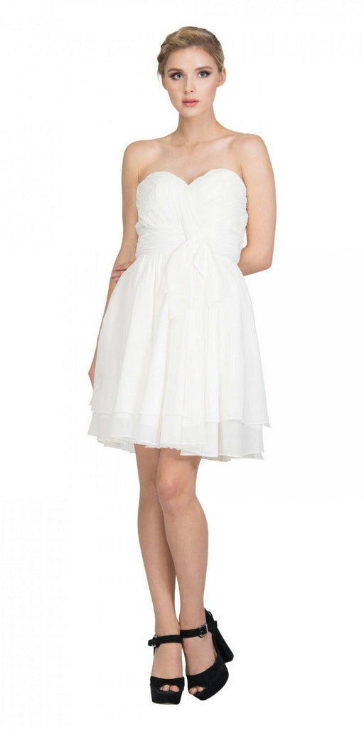 Strapless Ruched Bodice Short Homecoming Dress Off White