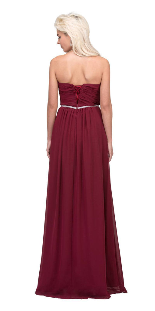 Starbox USA 6175 Strapless Floor Length Formal Dress Ruched Bodice Burgundy