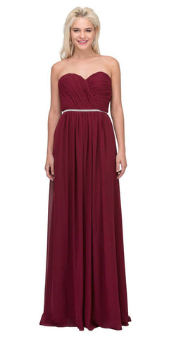 Starbox USA 6175 Strapless Floor Length Formal Dress Ruched Bodice Burgundy Back View