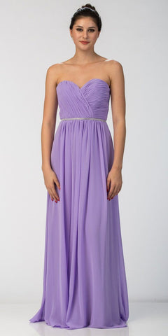 Starbox USA 6175 Strapless Floor Length Formal Dress Ruched Bodice Lilac