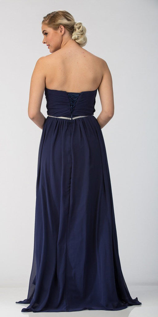 Starbox USA 6175 Strapless Floor Length Formal Dress Ruched Bodice Navy Blue Back View