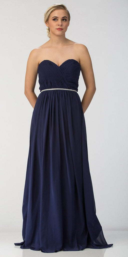 Starbox USA 6175 Strapless Floor Length Formal Dress Ruched Bodice Navy