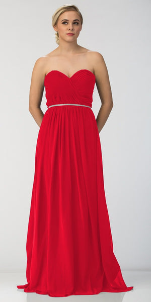 Starbox USA 6175 Strapless Floor Length Formal Dress Ruched Bodice Red