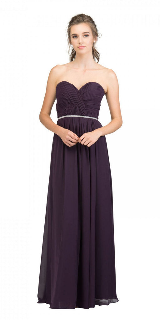 Starbox USA 6175 Strapless Floor Length Formal Dress Ruched Bodice Eggplant