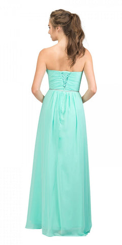 Starbox USA 6175 Strapless Floor Length Formal Dress Ruched Bodice Mint Back View