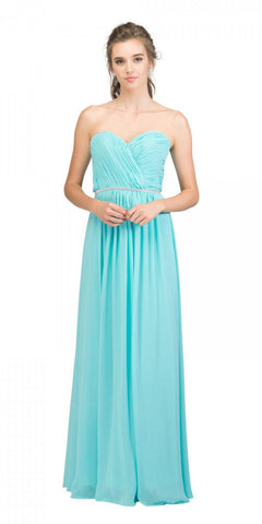 Starbox USA 6175 Strapless Floor Length Formal Dress Ruched Bodice Tiffany Blue