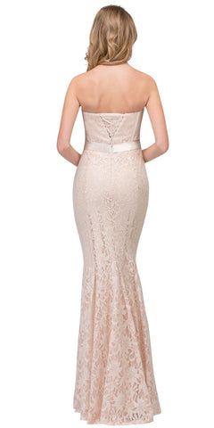 Champagne Lace Mermaid Long Formal Dress Strapless