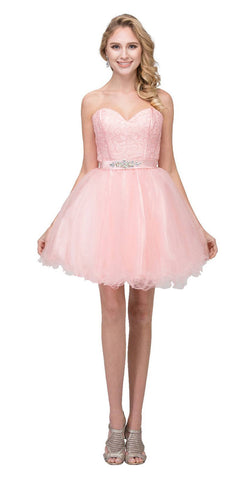 Starbox USA S6177 Lace Up Back Strapless Homecoming Dress Blush