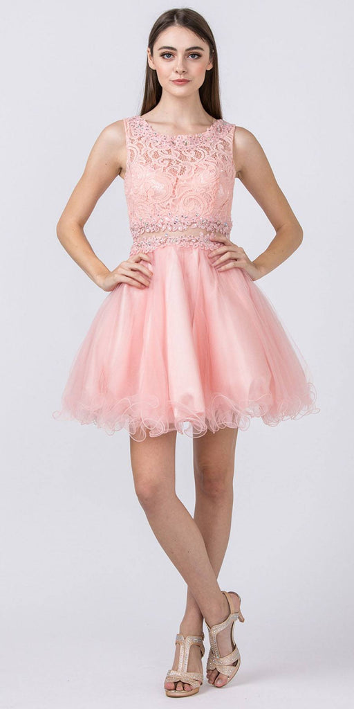 Starbox USA Mock Two-Piece Sleeveless Short Prom Dress Blush