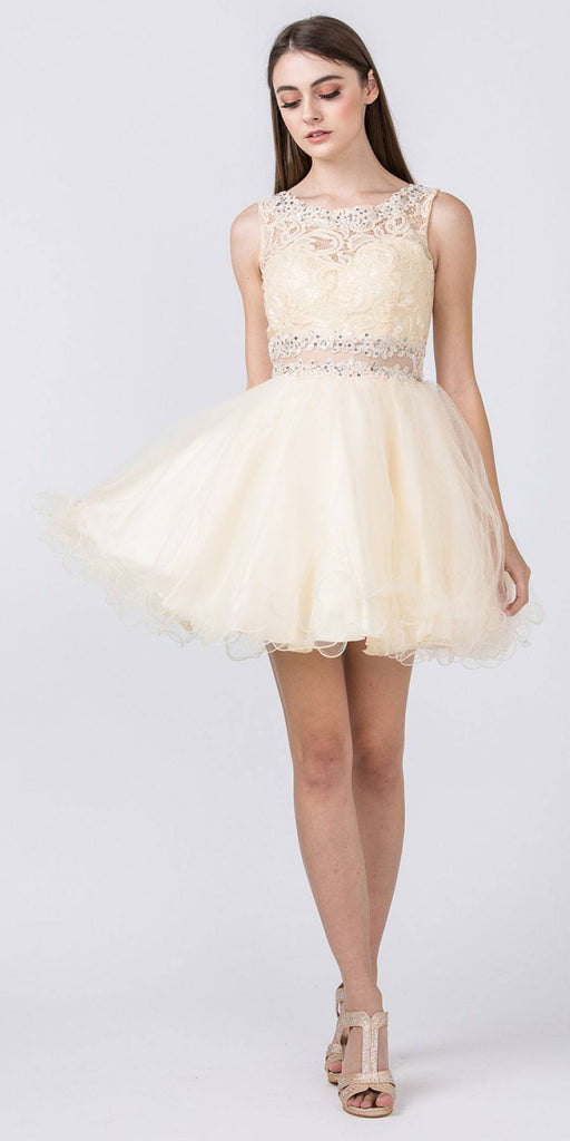 Starbox USA Mock Two-Piece Sleeveless Short Prom Dress Champagne Back View