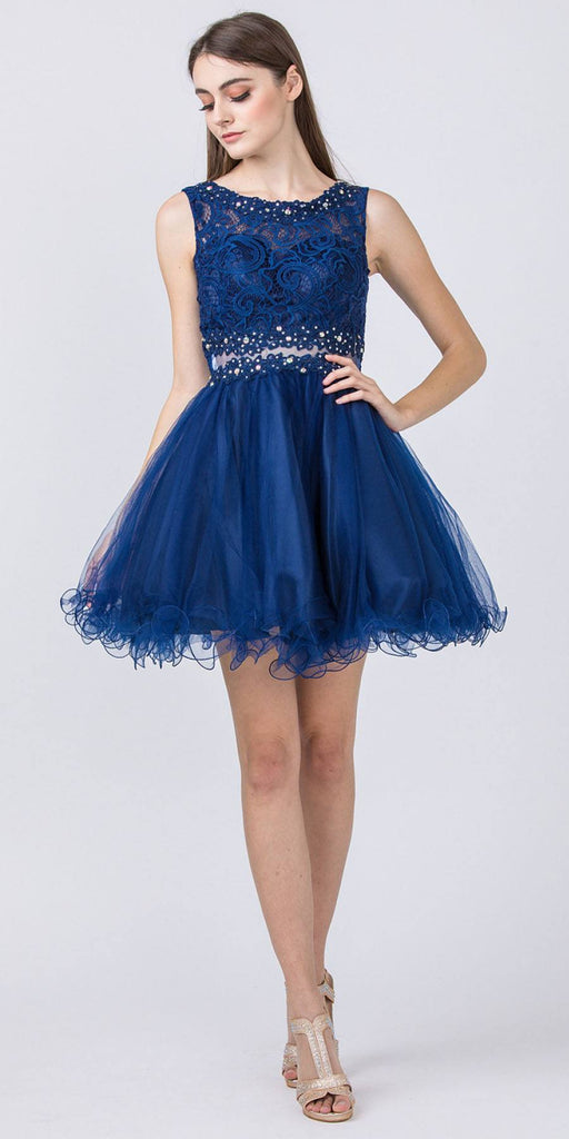 Starbox USA Mock Two-Piece Sleeveless Short Prom Dress Navy Blue