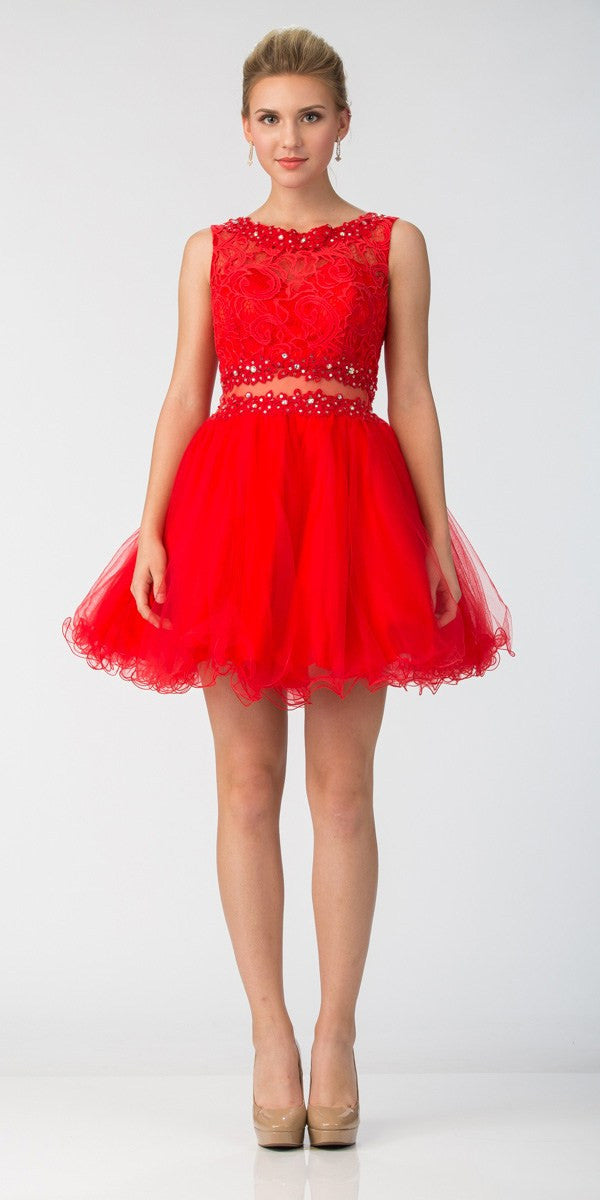 ca2f3c834ff ... Starbox USA Mock Two-Piece Sleeveless Short Prom Dress Red ...