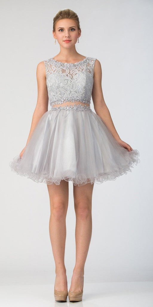 Starbox USA Mock Two-Piece Sleeveless Short Prom Dress Silver