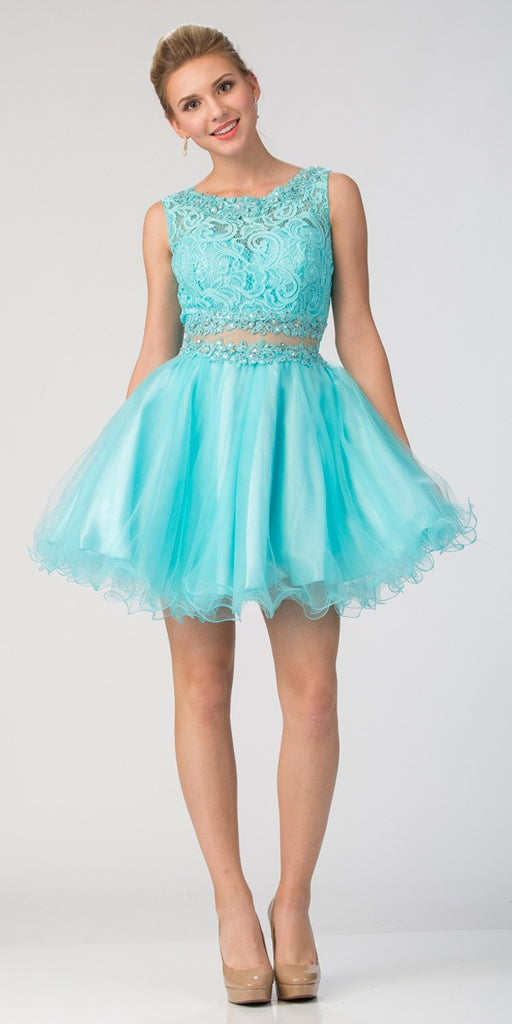 Starbox USA Mock Two-Piece Sleeveless Short Prom Dress Tiffany Blue