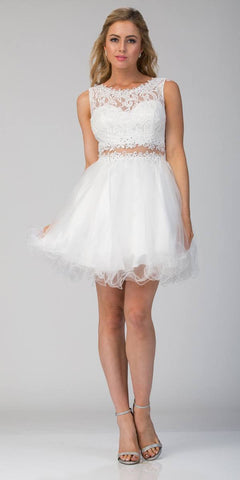 Starbox USA Mock Two-Piece Sleeveless Short Prom Dress White