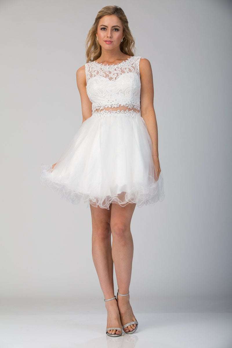 547cc5c2612 ... Starbox USA Mock Two-Piece Sleeveless Short Prom Dress White ...