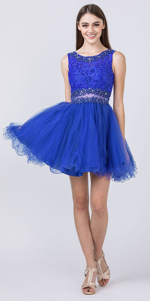 Starbox USA Mock Two-Piece Sleeveless Short Prom Dress Royal Blue