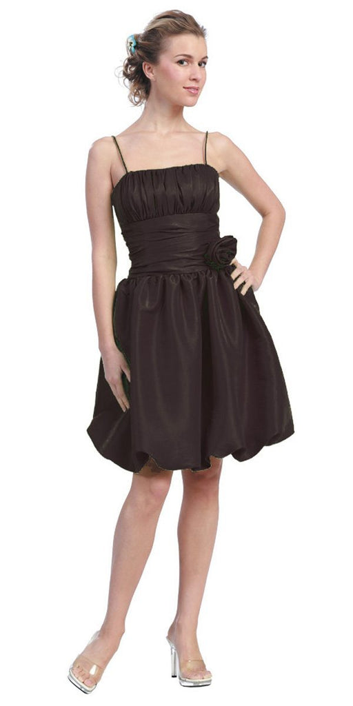Starbox USA 618-1 Black Bubble Dress Knee Length Empire Flower Spaghetti Strap