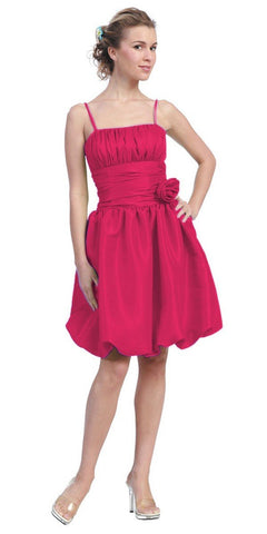 Starbox USA 618-1 Fuchsia Bubble Dress Knee Length Empire Flower Spaghetti Strap