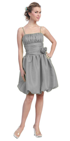 Starbox USA 618-1 Silver Bubble Dress Knee Length Empire Flower Spaghetti Strap