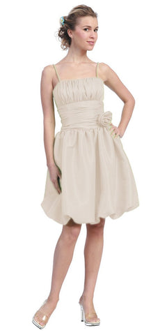 Starbox USA 618-1 Ivory Bubble Dress Knee Length Empire Flower Spaghetti Strap