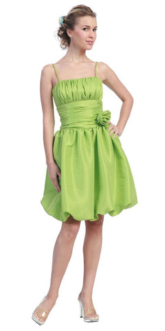 Starbox USA 618-1 Lime Green Bubble Dress Knee Length Empire Flower Spaghetti Strap