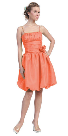 Starbox USA 618-1 Orange Bubble Dress Knee Length Empire Flower Spaghetti Strap