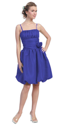 Starbox USA 618-1 Royal Blue Bubble Dress Knee Length Empire Flower Spaghetti Strap