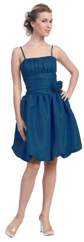 Starbox USA 618-1 Teal Bubble Dress Knee Length Empire Flower Spaghetti Strap