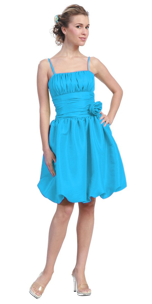 c9e7dd8b937b Turquoise Bubble Dress Knee Length Empire Flower Spaghetti Strap