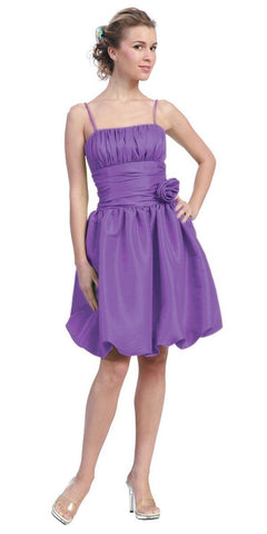 A-Line Orchid V-Neckline Long Gown With Slit And Double Strap