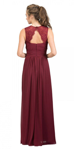 Starbox USA Burgundy Long Bridesmaids Dress Cut Out Back  Empire Waist Back View