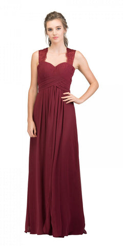 Starbox USA Burgundy Long Bridesmaids Dress Cut Out Back  Empire Waist