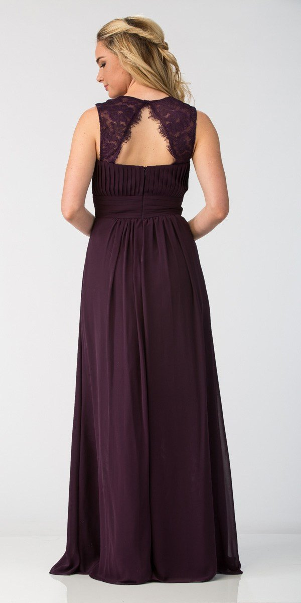 70ce529957894 Starbox USA Eggplant Long Bridesmaids Dress Cut Out Back Empire Waist