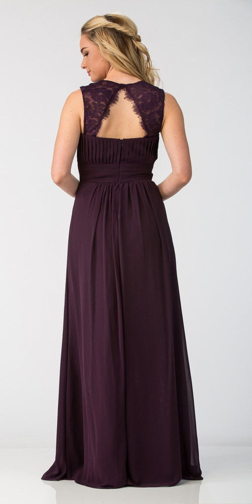 Starbox USA Eggplant Long Bridesmaids Dress Cut Out Back  Empire Waist