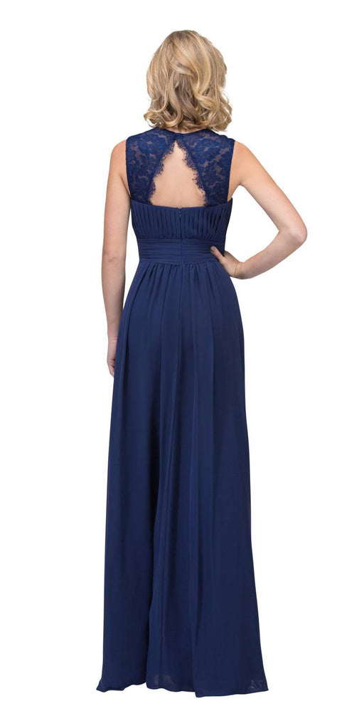 Starbox USA Navy Blue Long Bridesmaids Dress Cut Out Back  Empire Waist Back View