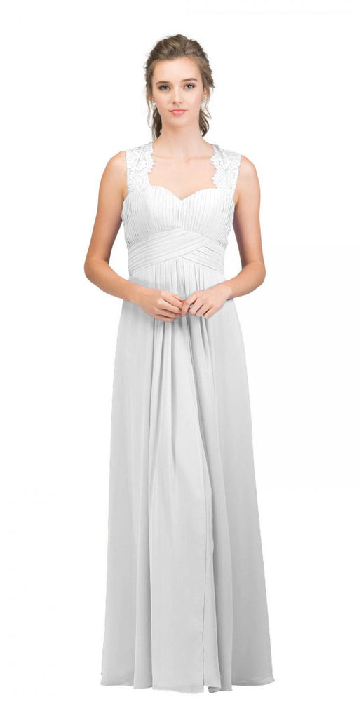 Starbox USA Off White Long Bridesmaids Dress Cut Out Back  Empire Waist