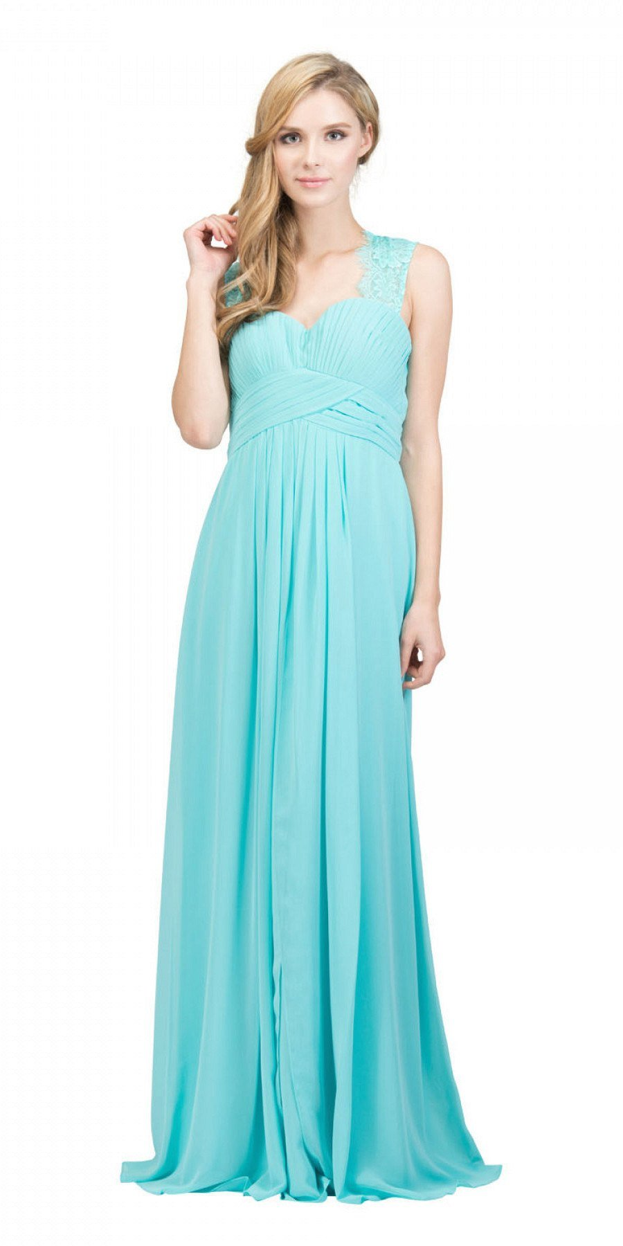 73cd0ac860f17 Starbox USA Tiffany Blue Long Bridesmaids Dress Cut Out Back Empire Waist.  Tap to expand