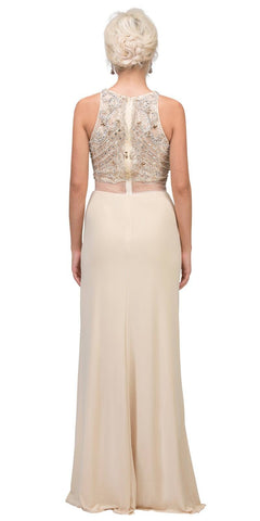 Champagne Beaded Mock Two-Piece Prom Gown with Slit