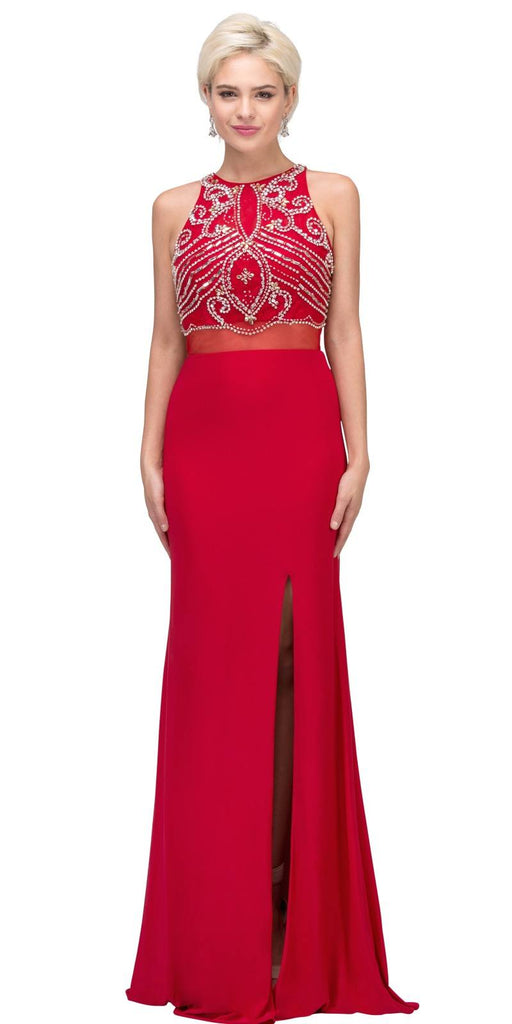 Red Beaded Mock Two-Piece Prom Gown with Slit