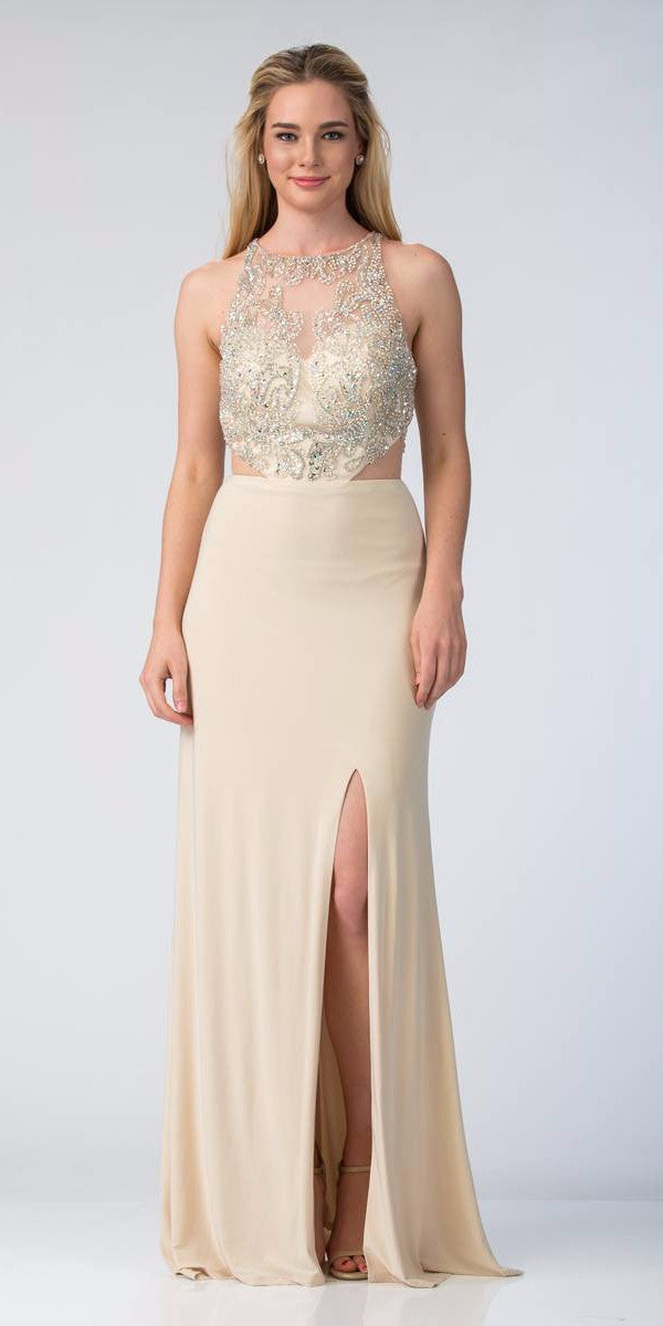 Starbox USA Champagne Sleeveless Cut Out Side Long Prom Dress with ...